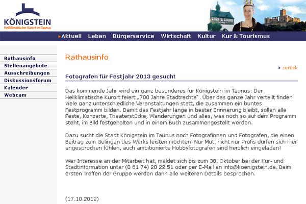 Königstein sucht Fotografen für Festjahr 2013