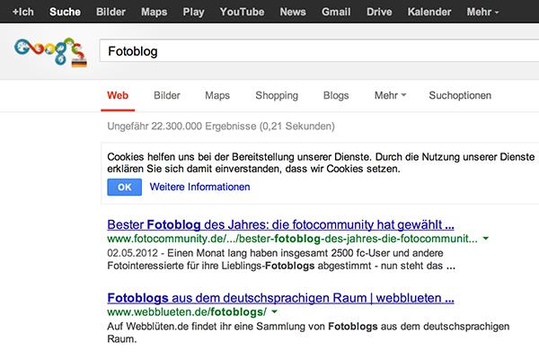 """Google Abfrage """"Fotoblog"""""""