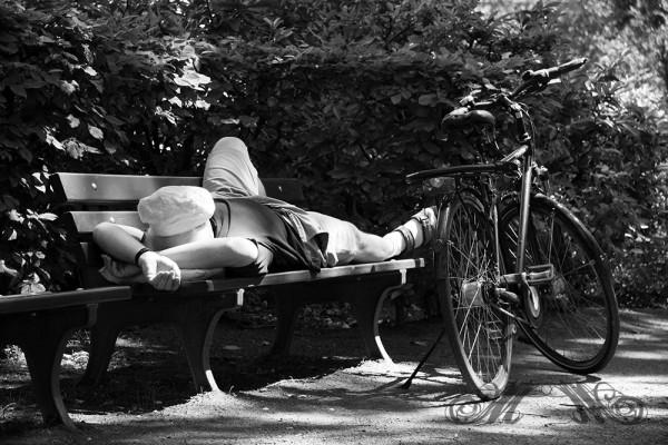 Mann auf einer Parkbank im Sommer 2012