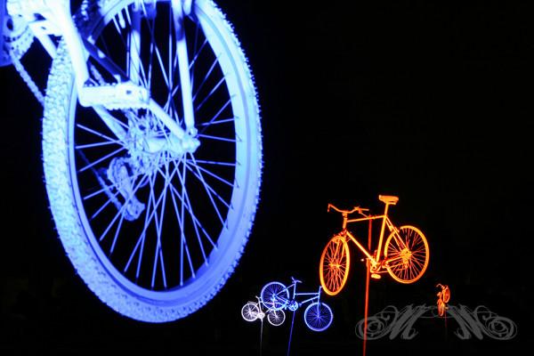 Schwebende Fahrräder im Palmengarten