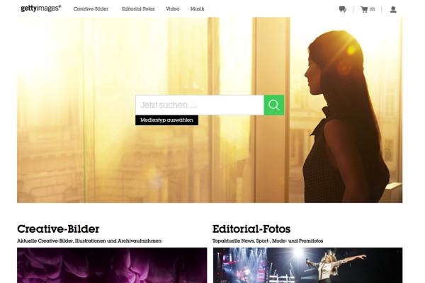 Screenshot von der Startseite von Getty Images (März 2014)