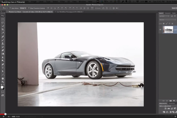 Scott Kelby Retouching Cars in Photoshop (YouTube Screenshot)