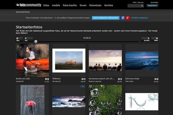 Screenshot von Fotocommunity (März 2014)