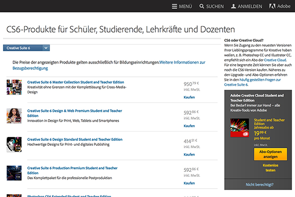 Adobe Creative Suite (CS6) für Schüler, Studierende, Lehrkräfte und Dozenten